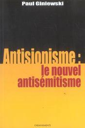Antisionisme, Le Nouvel Antisemitisme? - Intérieur - Format classique