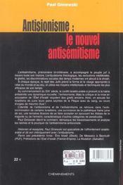 Antisionisme, Le Nouvel Antisemitisme? - 4ème de couverture - Format classique