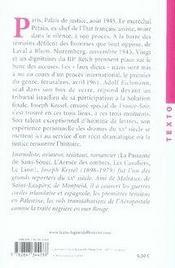 Jugements derniers ; les procès Pétain, de Nuremberg et Eichmann - 4ème de couverture - Format classique