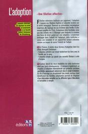 L'adoption ; une filiation affective - 4ème de couverture - Format classique