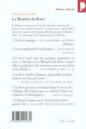 La mémoire du fleuve ; l'Afrique aventureuse de Jean Michonet - 4ème de couverture - Format classique