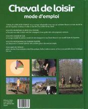 Cheval De Loisirs Mode D'Emploi - 4ème de couverture - Format classique