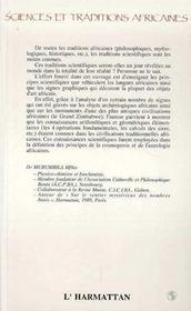 Sciences Et Traditions Africaines.Les Messages Du Grd - 4ème de couverture - Format classique