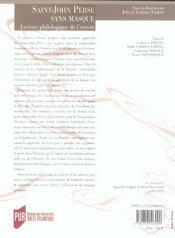 Saint-john perse sans masque ; lecture philosophique de l'oeuvre - 4ème de couverture - Format classique