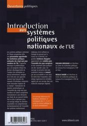 Introduction aux systèmes politiques nationaux de l'UE - 4ème de couverture - Format classique