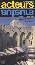 Acteurs No 71 Juillet 1989 - Revue Du Theatre - Couverture - Format classique