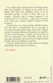 La Visite De La Vieille Dame - 4ème de couverture - Format classique