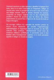 Méthodologie du résumé de texte en anglais - 4ème de couverture - Format classique