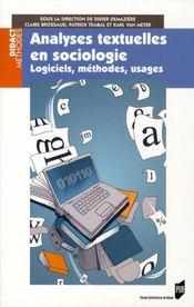 Analyses textuelles en sociologie - Intérieur - Format classique