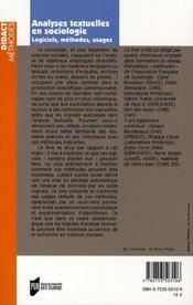 Analyses textuelles en sociologie - 4ème de couverture - Format classique