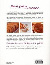 Bons pains 100 % maisons - 4ème de couverture - Format classique