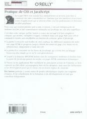 Pratique De Css Et Javascript - 4ème de couverture - Format classique