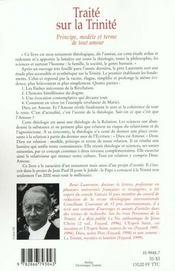 Traite Sur La Trinite - 4ème de couverture - Format classique