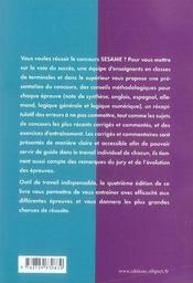 Le concours sésame (4e édition) - 4ème de couverture - Format classique