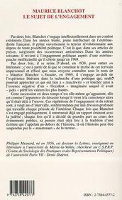 Maurice Blanchot ; Le Sujet De L'Engagement - 4ème de couverture - Format classique