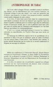 Anthropologie Du Tabac - 4ème de couverture - Format classique
