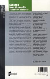 Syntaxe fonctionnelle ; théorie et exercices - 4ème de couverture - Format classique