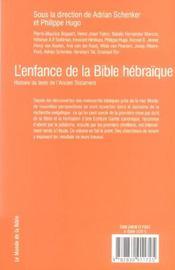 L'Enfance De La Bible Hebraique - 4ème de couverture - Format classique