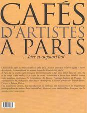 Cafes D'Artistes A Paris - 4ème de couverture - Format classique
