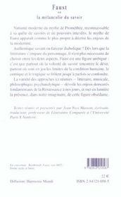 Faust Ou La Melancolie Du Savoir - 4ème de couverture - Format classique