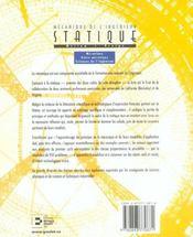 Statique: Mecanique De L'Ingenieur. Avec1 Cd Rom Mecanique, Genie Mecanique - 4ème de couverture - Format classique