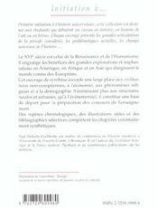 Initiation Au Siecle De La Renaissance 1480-1610 - 4ème de couverture - Format classique