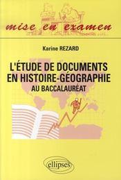 L'étude de documents en histoire-géographie au baccalauréat - Intérieur - Format classique