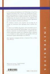 Methodologie Et Algorithmes En Pascal Cours Et Exercices Corriges - 4ème de couverture - Format classique