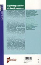 Psychologie sociale de l'environnement - 4ème de couverture - Format classique