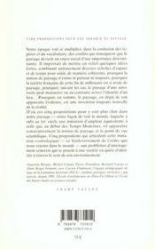 Cinq propositions pour une théorie du paysage - 4ème de couverture - Format classique