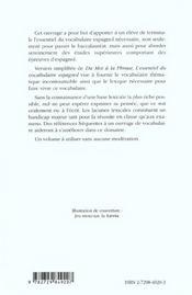 Logos L'Essentiel Du Vocabulaire Espagnol - 4ème de couverture - Format classique