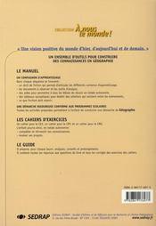 Le Cahier Cm2 A Nous Le Monde Geographie - Cycle Iii - 4ème de couverture - Format classique