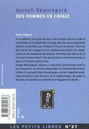 Des Hommes En Cavale - 4ème de couverture - Format classique