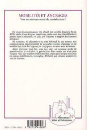 Mobilites Et Ancrages ; Vers Un Nouveau Mode De Spatialisation - 4ème de couverture - Format classique