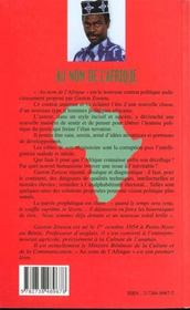 Au Nom De L'Afrique - 4ème de couverture - Format classique