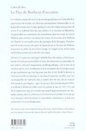 Pays De Bonheur D'Occasion (Le) - 4ème de couverture - Format classique