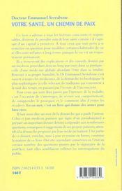 Votre Sante Un Chemin De Paix - 4ème de couverture - Format classique