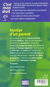 Hériter D'Un Parent - 4ème de couverture - Format classique