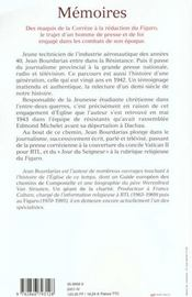 Memoires ; des maquis de la correze a la redaction du figaro - 4ème de couverture - Format classique