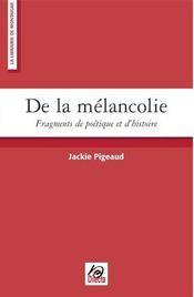 De La Melancolie - Intérieur - Format classique