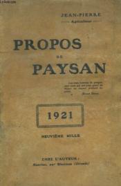 Propos De Paysan - Couverture - Format classique
