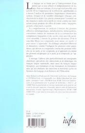 Interactions Orales En Contexte Didactique - 4ème de couverture - Format classique