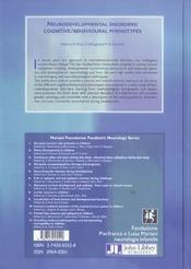 Neurodevelopmental Disorders : Cognitive/ Behavioural Phenotype - 4ème de couverture - Format classique