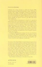 Pages de mémoire ; entretiens avec ragga al naqqâch - 4ème de couverture - Format classique