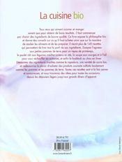 Cuisine Bio (La) - 4ème de couverture - Format classique