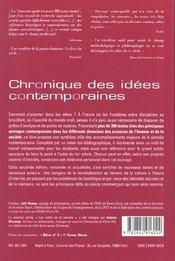 Chronique des idees contemporaines (2e édition) - 4ème de couverture - Format classique