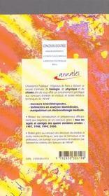 Concours D'Entree Aux Formations Masseurs Kinesitherapeutes - Techniciens De Laboratoires - Manipula - 4ème de couverture - Format classique