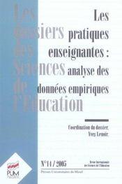 Les Pratiques Enseignantes: Analyse Des Donnees Empiriques - Intérieur - Format classique