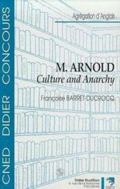 Matthew Arnold-Culture And Anarchy - Couverture - Format classique