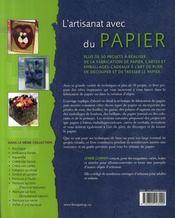 L'artisanat avec du papier - 4ème de couverture - Format classique
